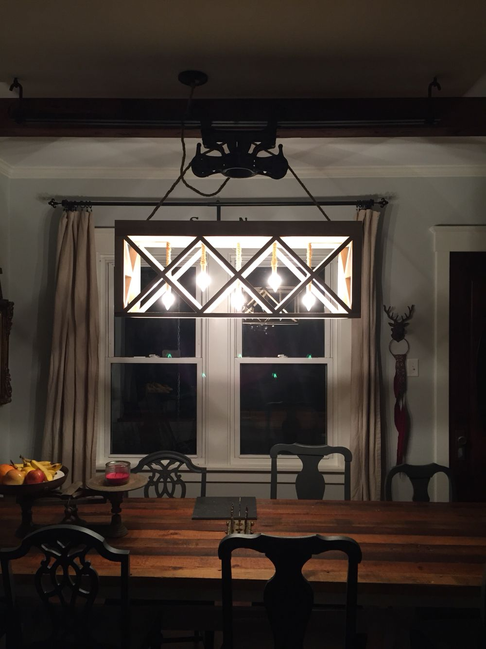Our new light fixture hay trolley and track poplar rope wire and lighting parts