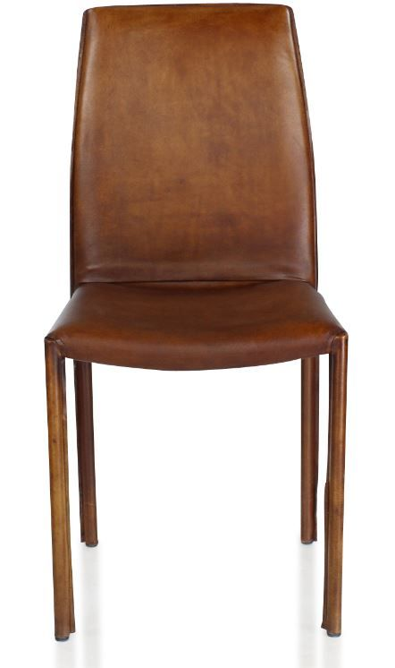 Chaise Design Cuir Marron Vintage , Pieds Cuir