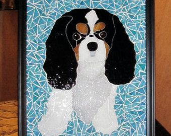 Cavalier King Charles Portrait In Stained Glass Stained Glass