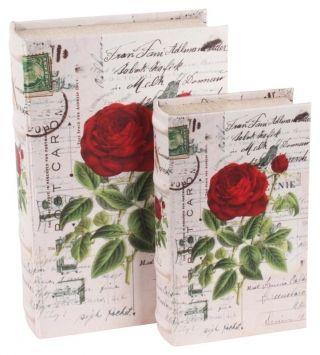 """Cutiile decorative """"Botanique"""" - set de două cutii retro, din lemn, de dimensiuni diferite. Cutiile imită două volume de carte, având coperta elegant îmbrăcată în material textil ce imită mătasea."""