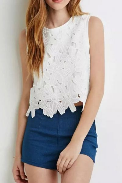 Crochet Lace Sleeveless Muscle Crop Tee