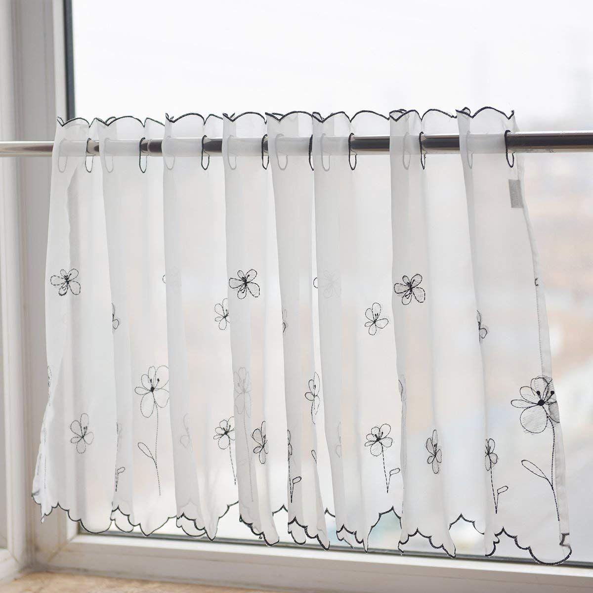 Black flower white semisheer privacy sheers kitchen valance