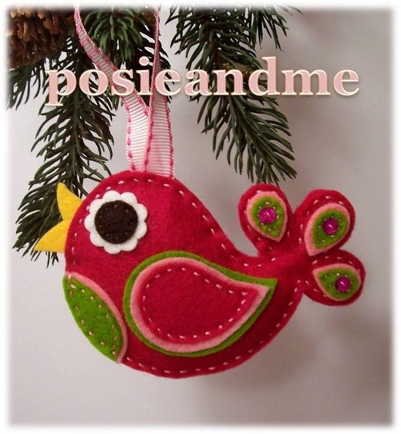 Pink Paisley Partridge in a Pear Tree Wool Felt Christmas Ornament ...