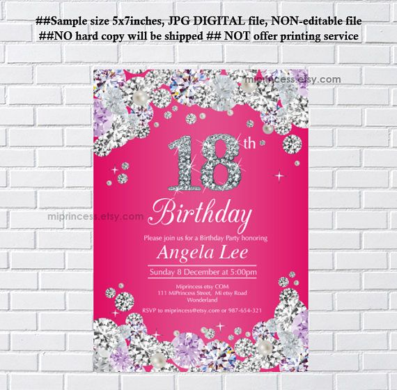 Pink birthday invitation rhinestone diamond elegant invite 18th pink birthday invitation rhinestone diamond elegant invite 18th 16th 30th 40th 50th 60th 70th 80th 90th adult birthday design card 593 filmwisefo