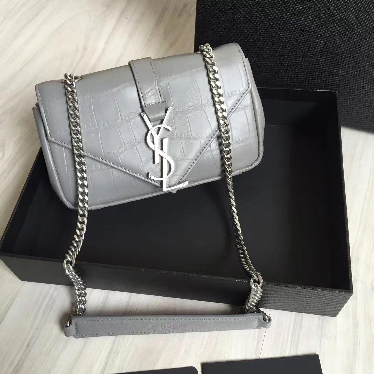 Saint Laurent Classic Baby Monogram Chain Bag In Crocodile Pattern Calfskin  Gray 399289  Designerhandbags 4f42cce60e0ca