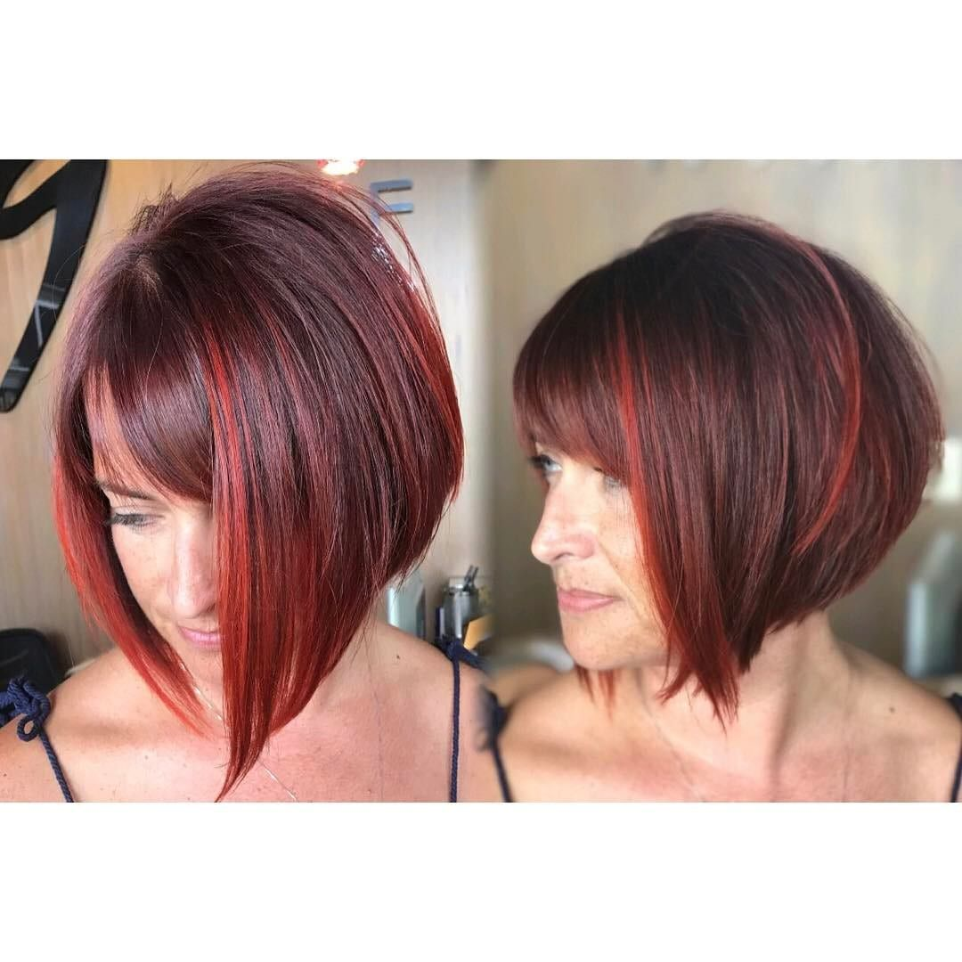 Get This Hairstyle Inverted Bob With Side Swept Bangs On Burgundy Hair Red