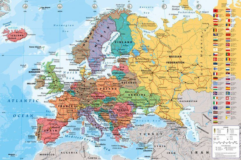 Europe Political Map Poster European Print Wall Art Large Maxi | Walls