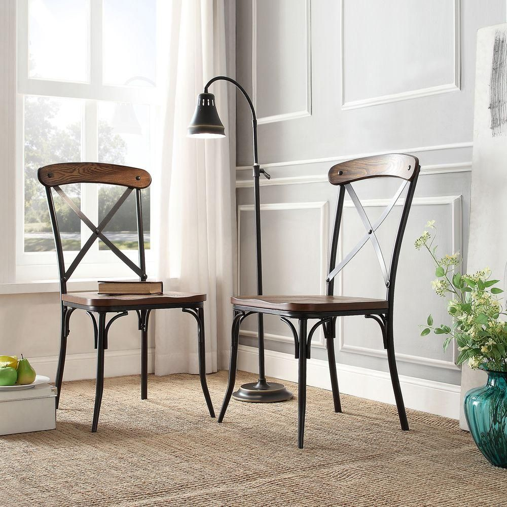 Cabela Distressed Ash Wood And Metal Dining Chair Set Of 2