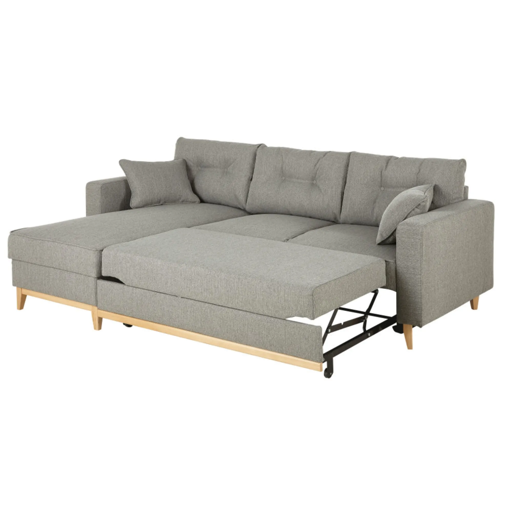 Canape D Angle Convertible 4 5 Places Gris Clair Canape Angle