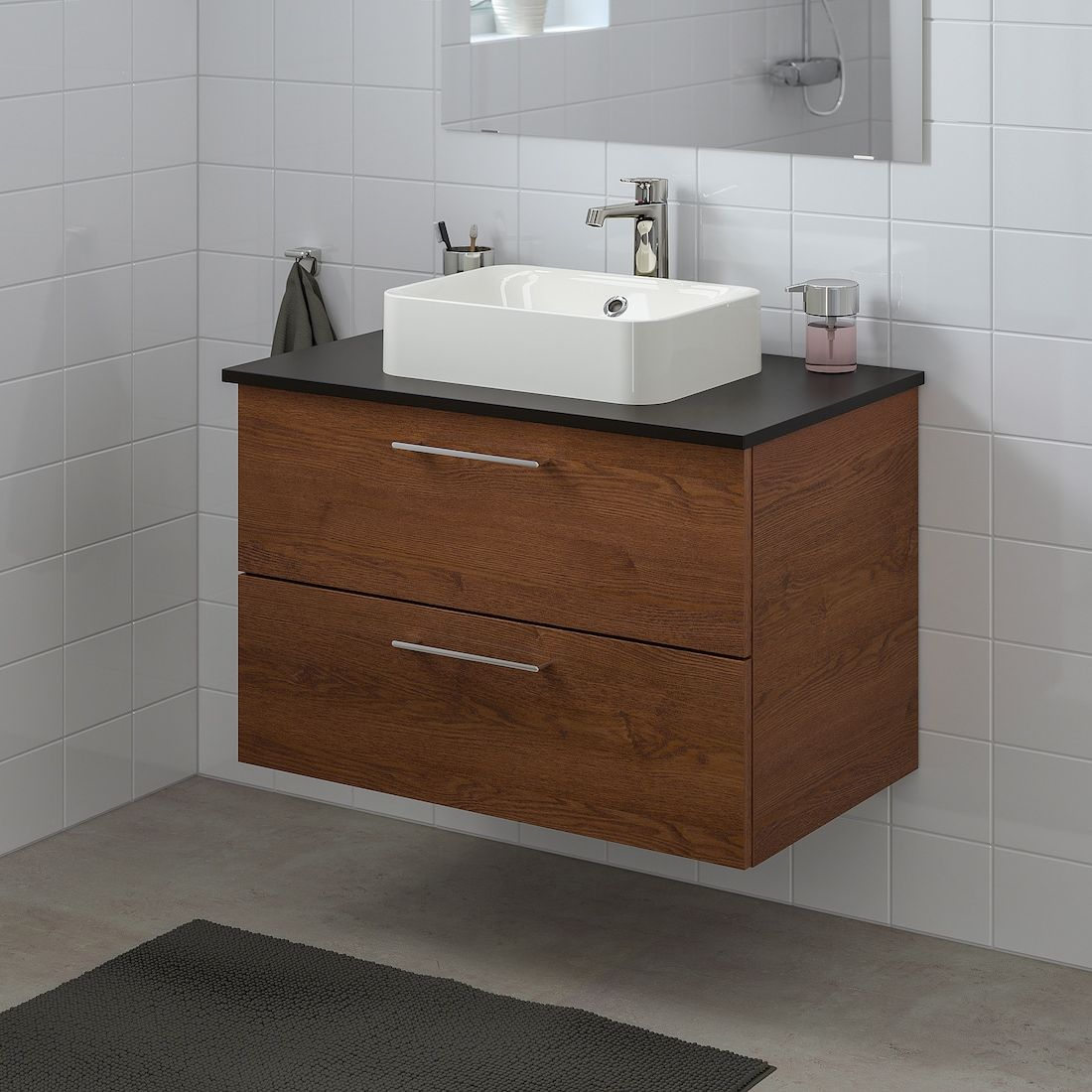 Godmorgon Tolken Horvik Cabinet Top 17 3 4x12 2 8 Sink Brown Stained Ash Effect Anthracite Brogrund Faucet 32 1 4x19 1 4x28 3 8 Ikea In 2021 Ikea Godmorgon Bathroom Vanity Vanity