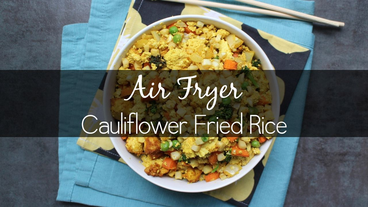 It is so easy to make air fried cauliflower rice in the