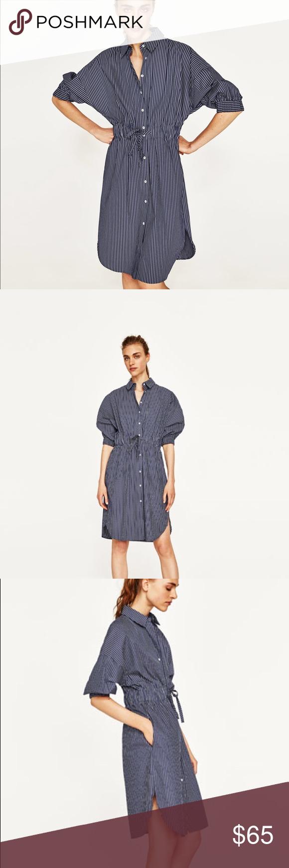 54dc812393 NWT Zara Blue and White Striped Shirt Dress Striped