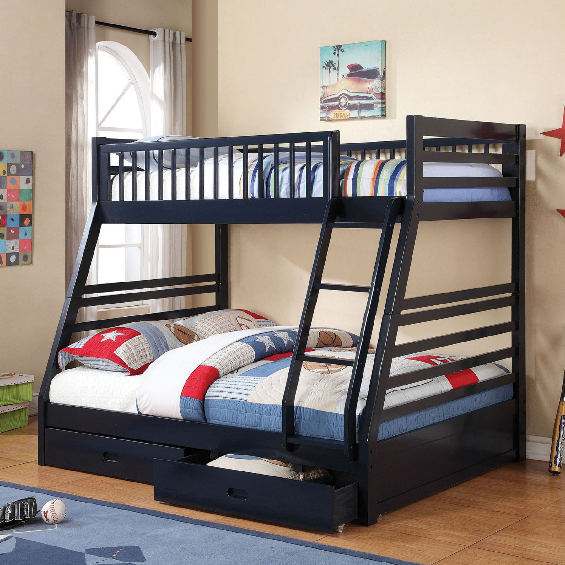 Twin loft bed dimensions  Coaster Furniture Twin over Full Bunk Bed with  Drawers and