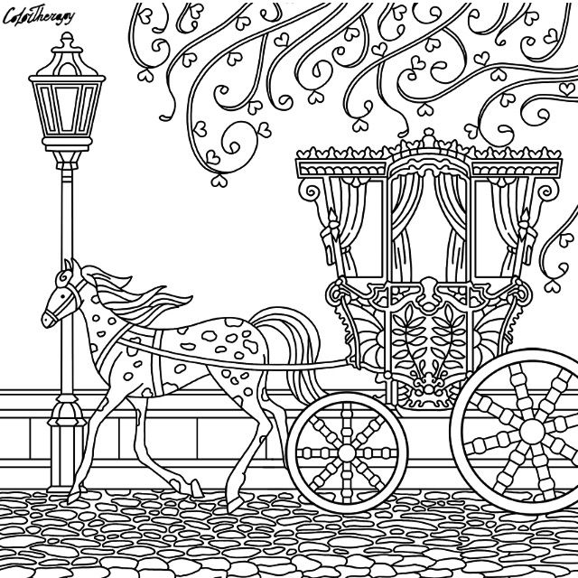 Horse And Carriage Coloring Page Cute Coloring Pages Coloring Books