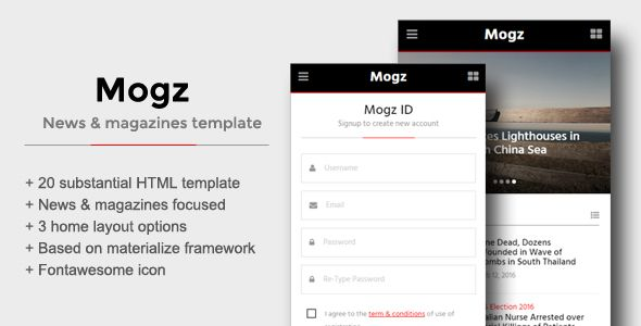 Mogz - News \ Magazines Template For Mobile Template and Website - free sign up template