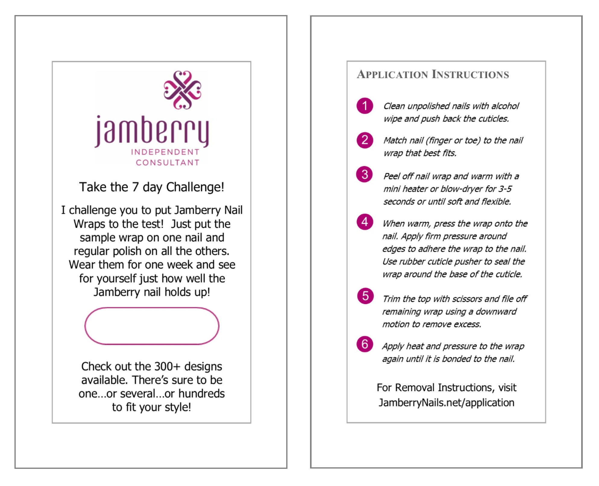 Send the 7 day challenge cards to new customers and get them hooked jamberry consultant business cards send the 7 day challenge cards to new customers and get them hooked on jamberry reheart Choice Image