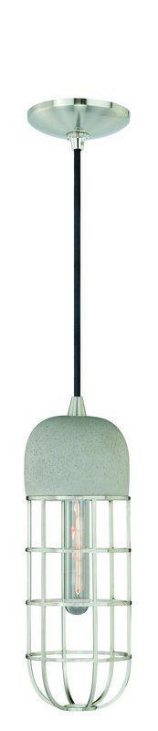 Vaxcel Lighting P0074 Pendant 1 Light Industrial Pendant Satin Nickel Indoor Lighting Pendants