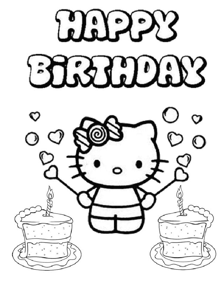 hello kitty coloring pages says happy birthday | Dbest ...