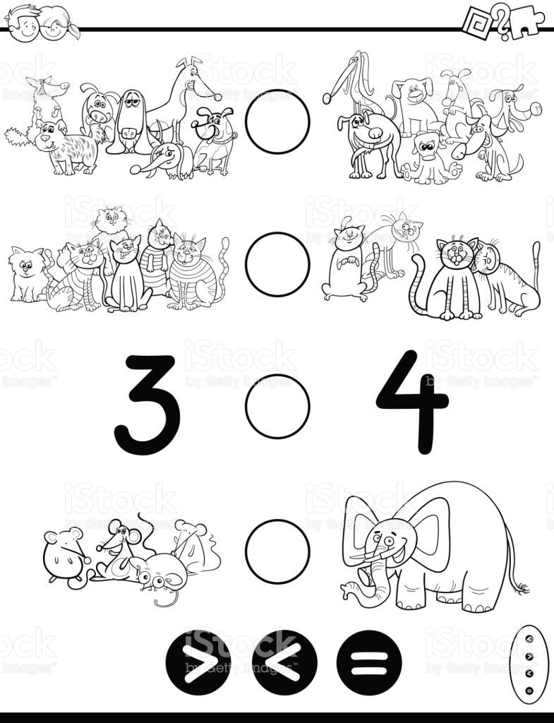 Black and White Cartoon Illustration of Educational Mathematical ...