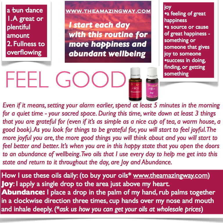 www.facebook.com/theamazingcompany  I FEEL GOOD! Competition time: who would like to win a Goody Bag containing a tester bottle of Joy and Abundance, a sachet of NingXia Red and a feel good affirmation.