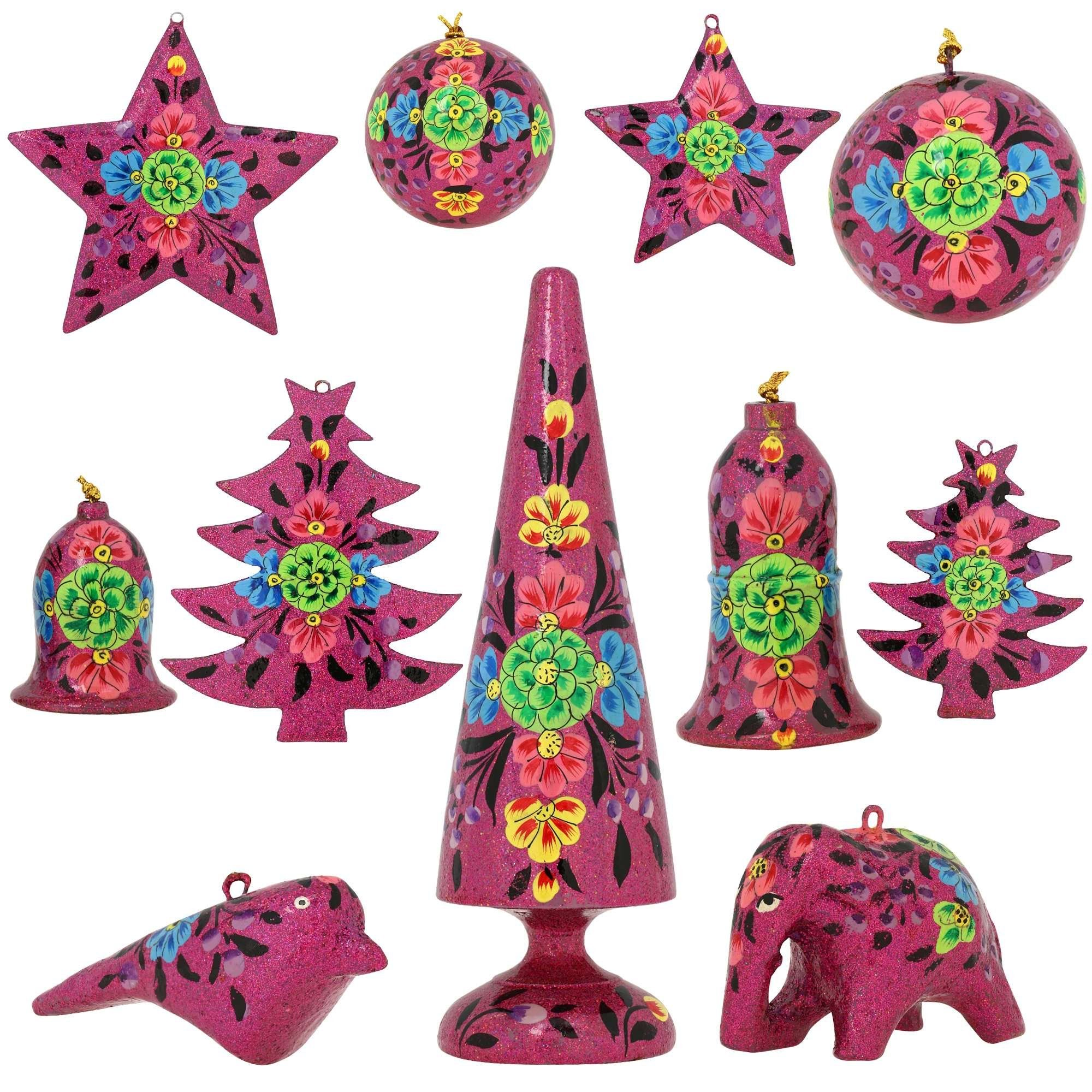 Amazon Com Set Of 11 Purple Floral Paper Mache Christmas Ornaments Handmade Indian Gifts Handmade Christmas Decorations Handmade Ornaments Paper Ornaments