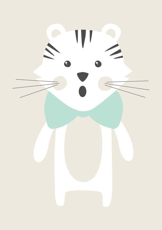 Poster Petit Tigre illustration pour chambre par AlbertPapeterie