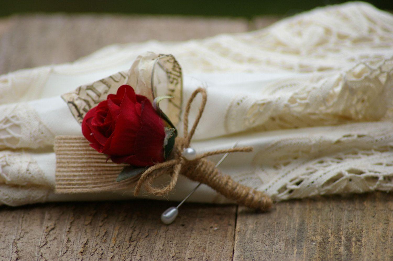 Shabby Chic Red Silk Rose Burlap Bridal Boutonniere by jcmartanddesign on Etsy https://www.etsy.com/listing/156697896/shabby-chic-red-silk-rose-burlap-bridal