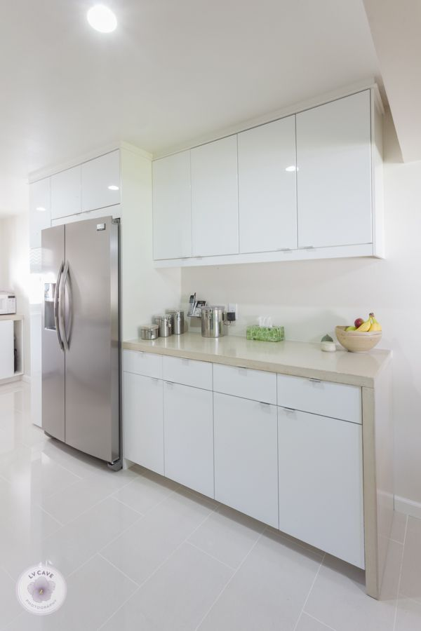 Ikea Abstrakt White Kitchen With DIY Concrete Countertops And White Marble  Backsplash