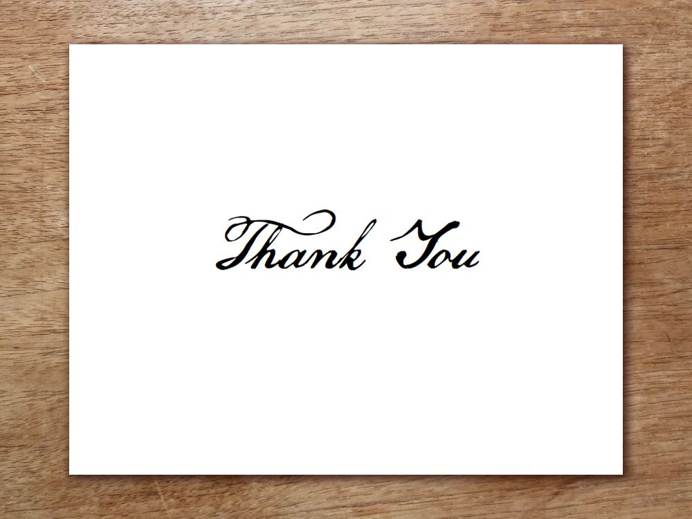 A Simple Black And White Thank You Card Template In A Calligraphy