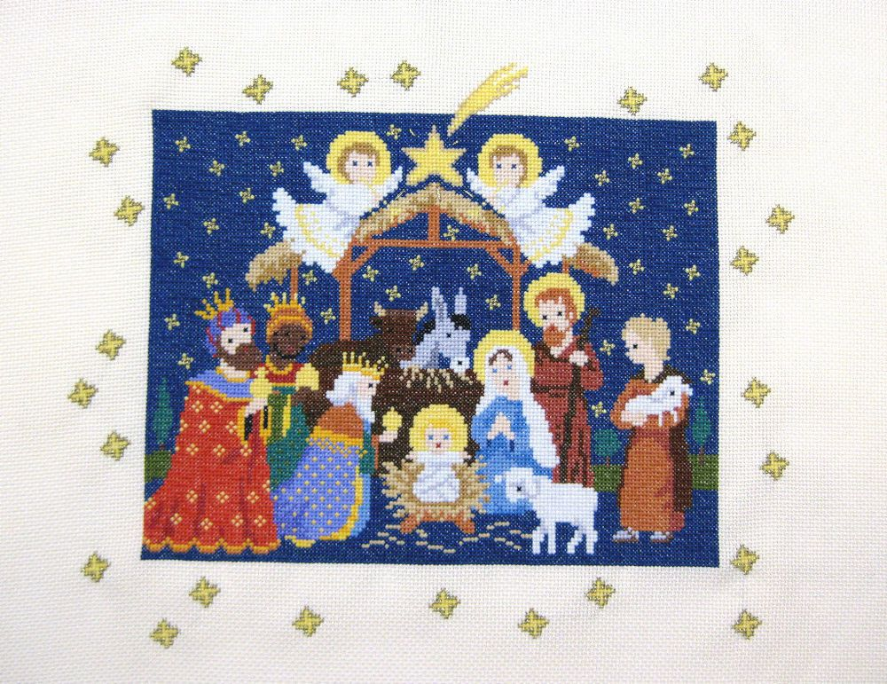 Finished Completed Cross Stitch THE NATIVITY, Christmas