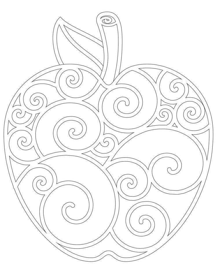 Herbst Mandalas Kinder Aepfel Schnoerkel Mandalas Kinder Stickereimuster Ausmalbilder