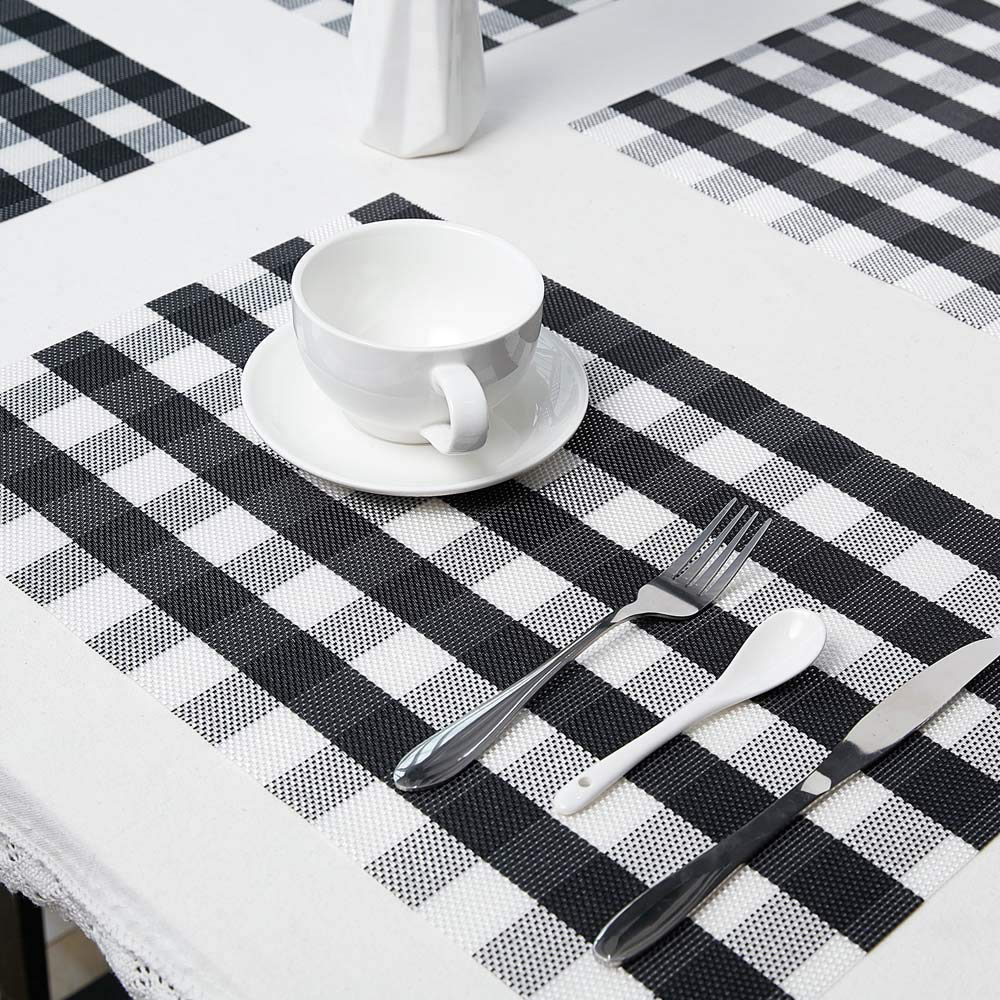 Nonslip Buffalo Plaid Placemats Various Colors White Placemats Dining Table In Kitchen Placemat Sets