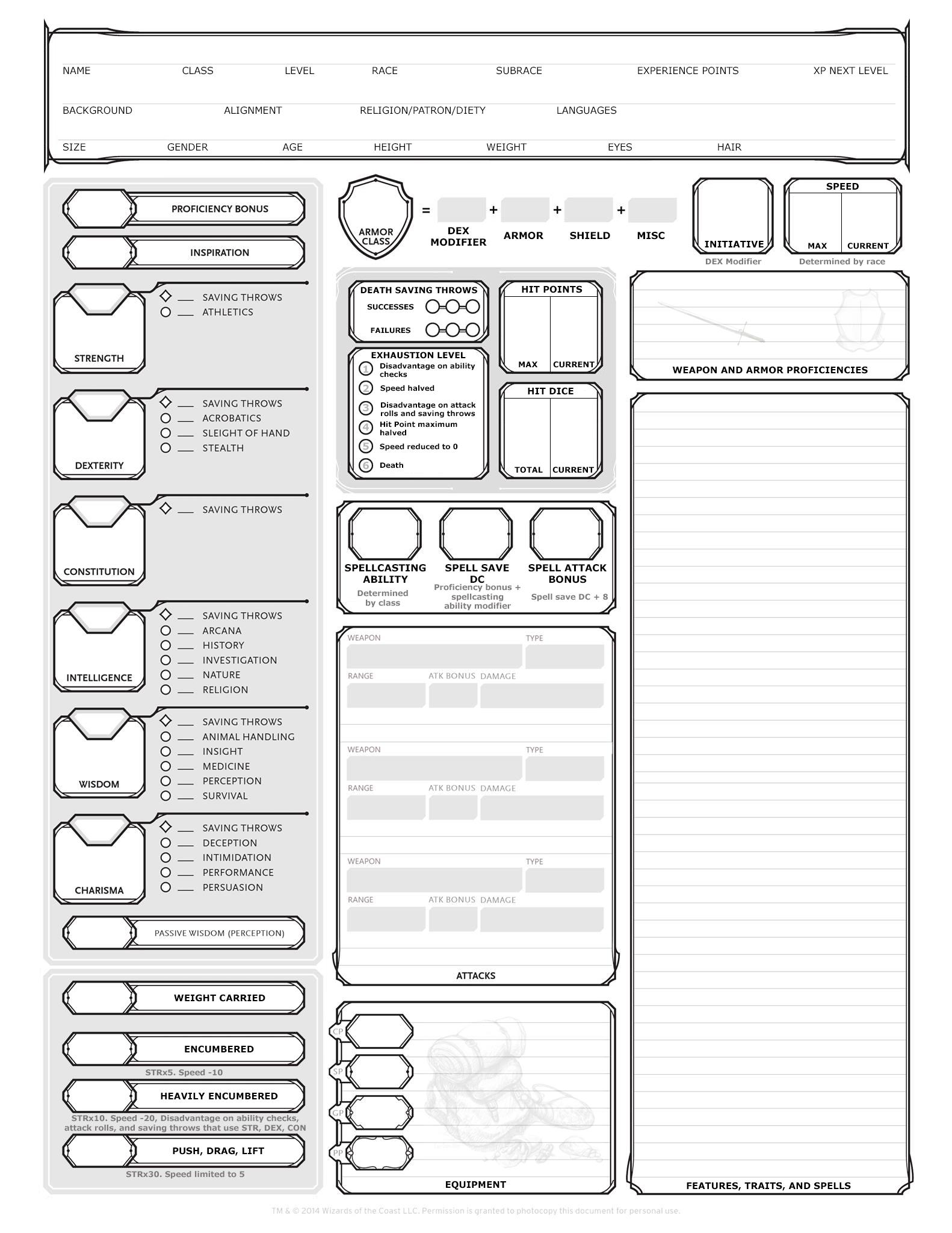 basic dungeons and dragons character sheet basic character sheet aimed at new players, broken down a