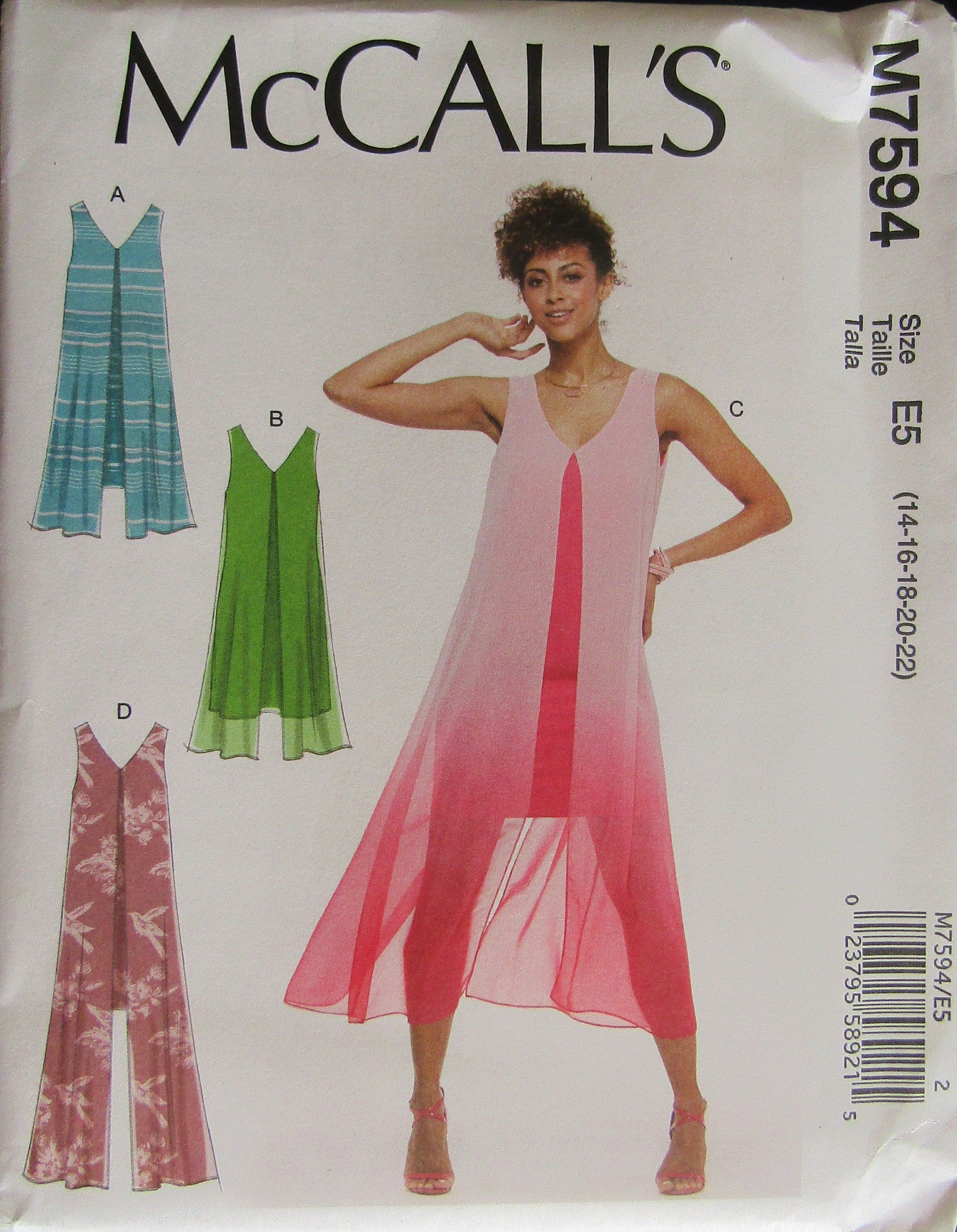 f1a7bee3b8d McCalls 7594 Misses V-Neck Sleeveless Pullover Dress Sewing Pattern Uncut  by SimpsonDesignsStudio on Etsy