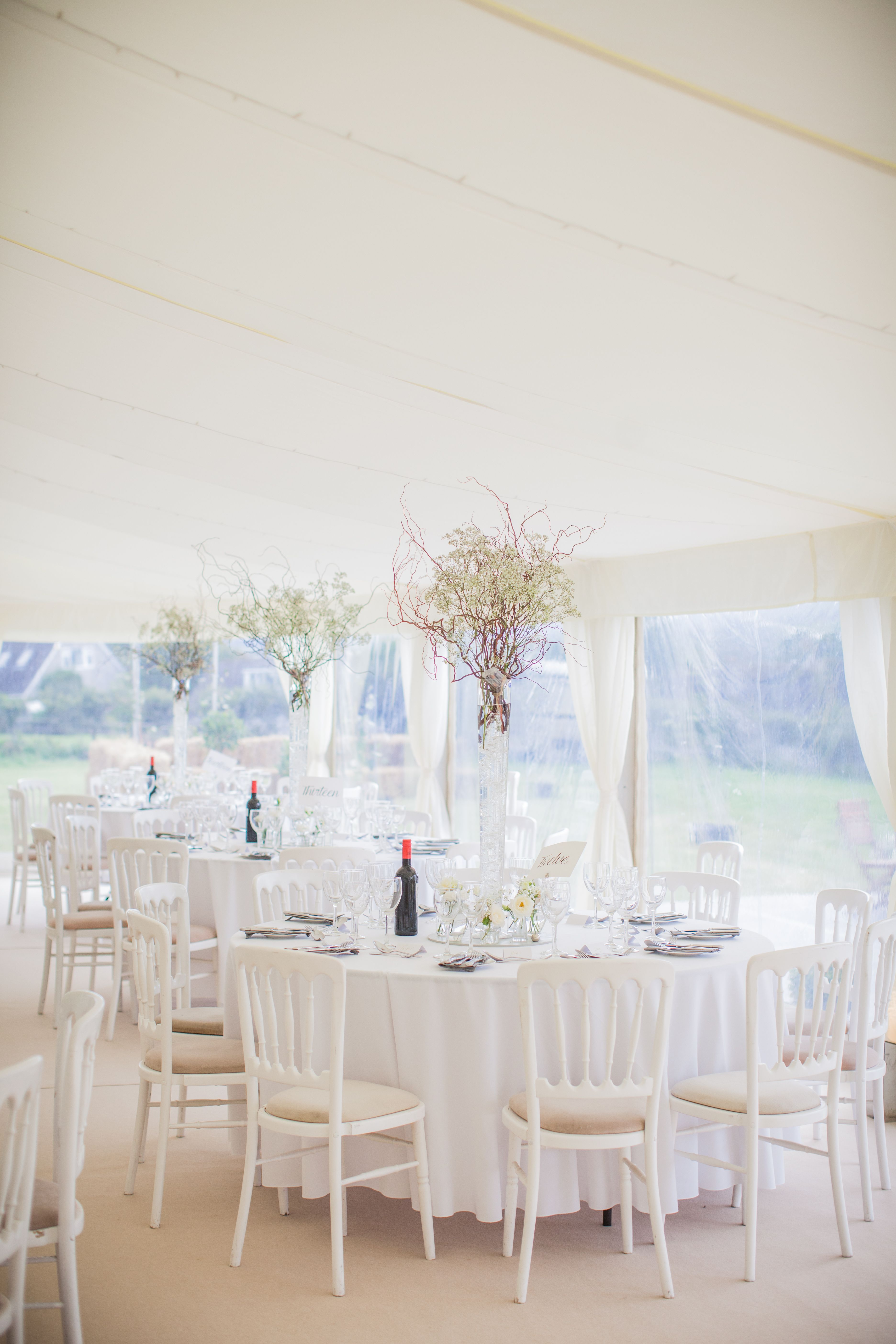 Lovely Wedding Marquee With Flat Linings White Banqueting Chairs And Champagne Carpet Hire