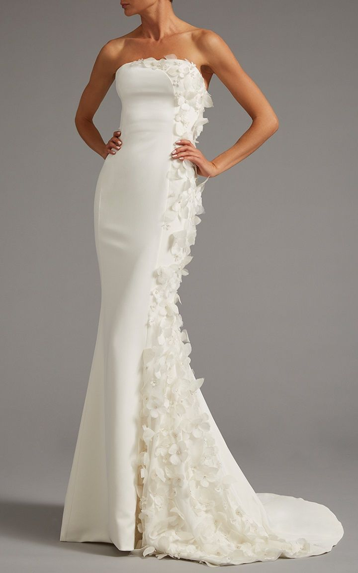 Strapless Gown With Side Panel Of Floral Applique | itakeyou.co.uk #bridaldress #weddingdress #weddinggown #wedding #offtheshoulder
