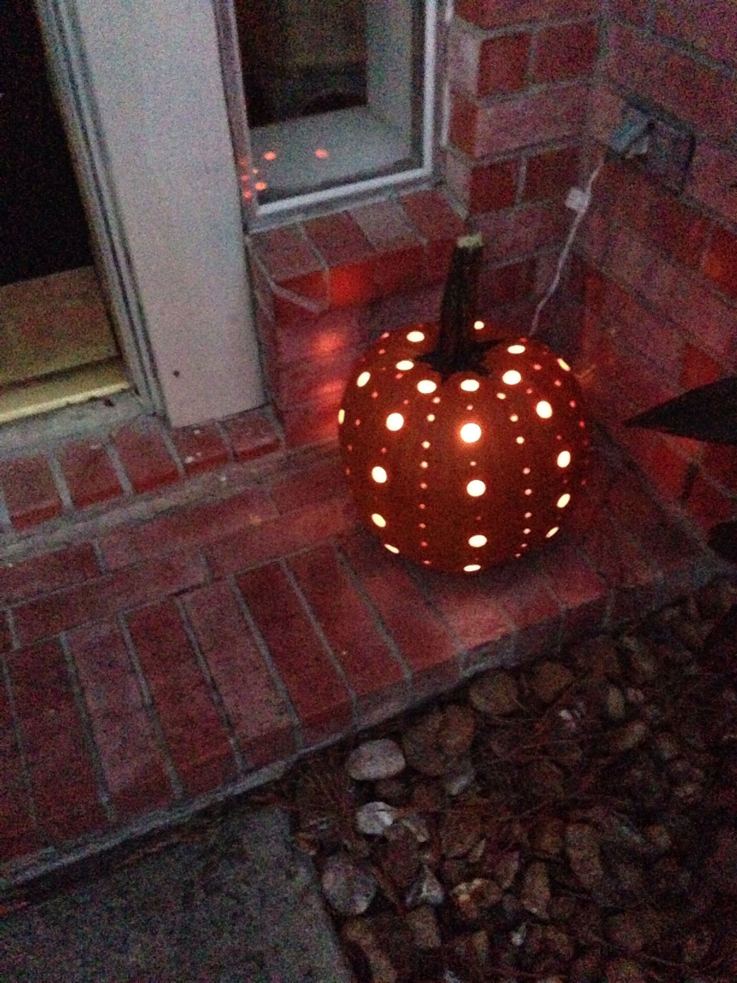 Drilled pumpkin filled with Christmas lights! | Halloween ...