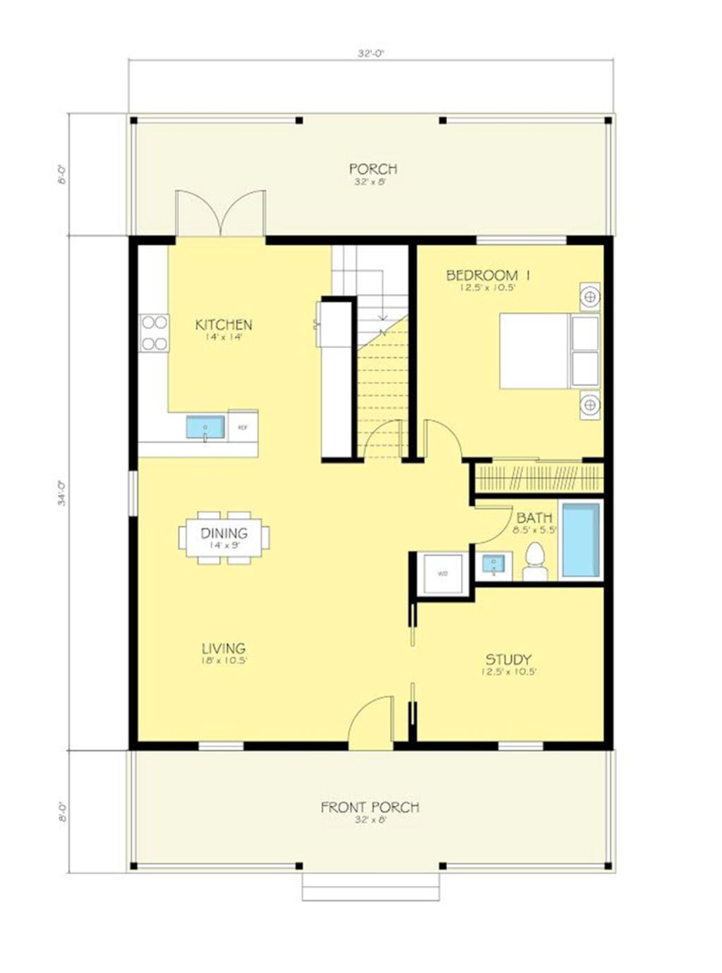 Simple, but works... Cottage Style House Plan 2 Beds 2