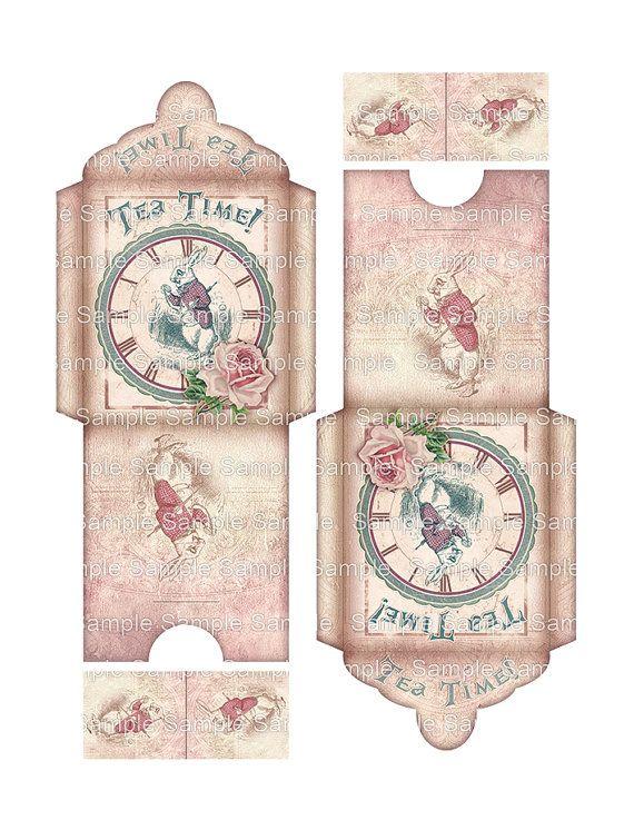 printable Tea Bag Envelope, printable Alice in Wonderland, Digital - time clock spreadsheet