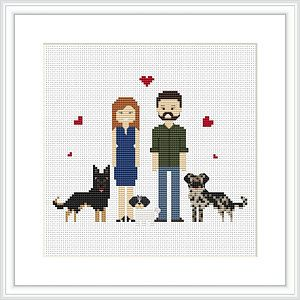 Custom Portrait Cross Stitch Pattern PDF Faceless Portrait DIY Gift
