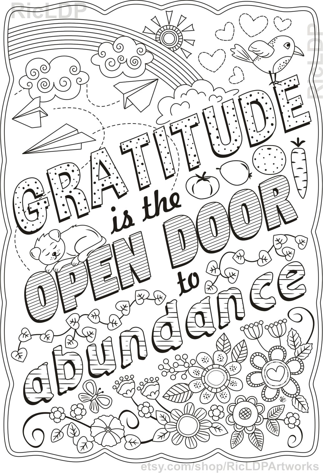 There Is Always Something To Be Thankful For Gratitude Etsy Quote Coloring Pages Love Coloring Pages Swear Word Coloring