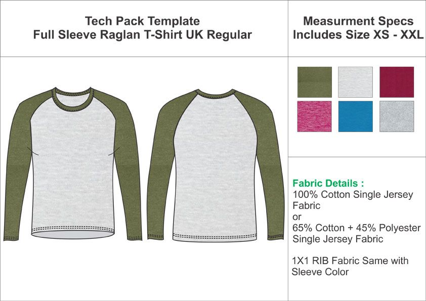 Download Tech Pack Template Full Sleeves Raglan T Shirt Uk Regular Size T Shirts Uk Tech Pack Full Sleeve