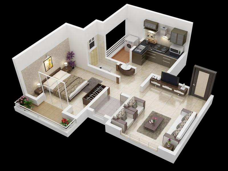 Desain Rumah Minimalis Apartement 1 Kamar Tidur Desain Rumah Rumah Minimalis Denah Rumah 3d