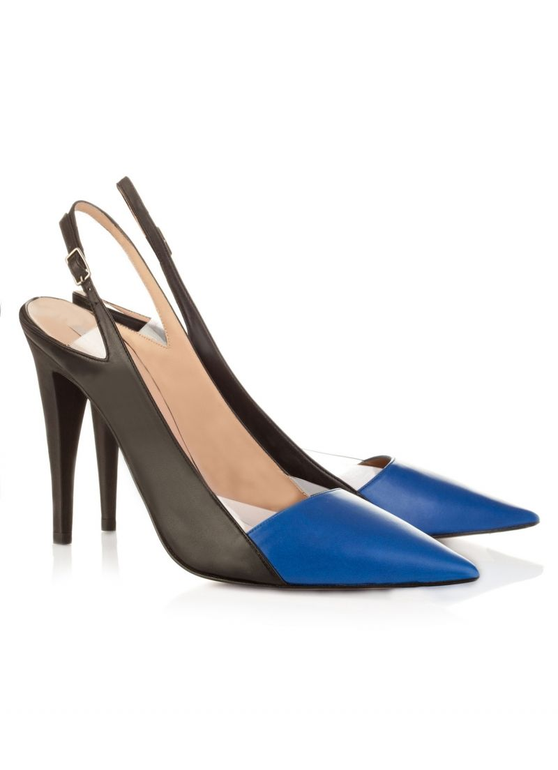 1948a4a518f3 Pura Lopez Fiala- Pointy toe slingback high heel shoes by Pura Lopez in royal  blue and black leather with vinyl details.