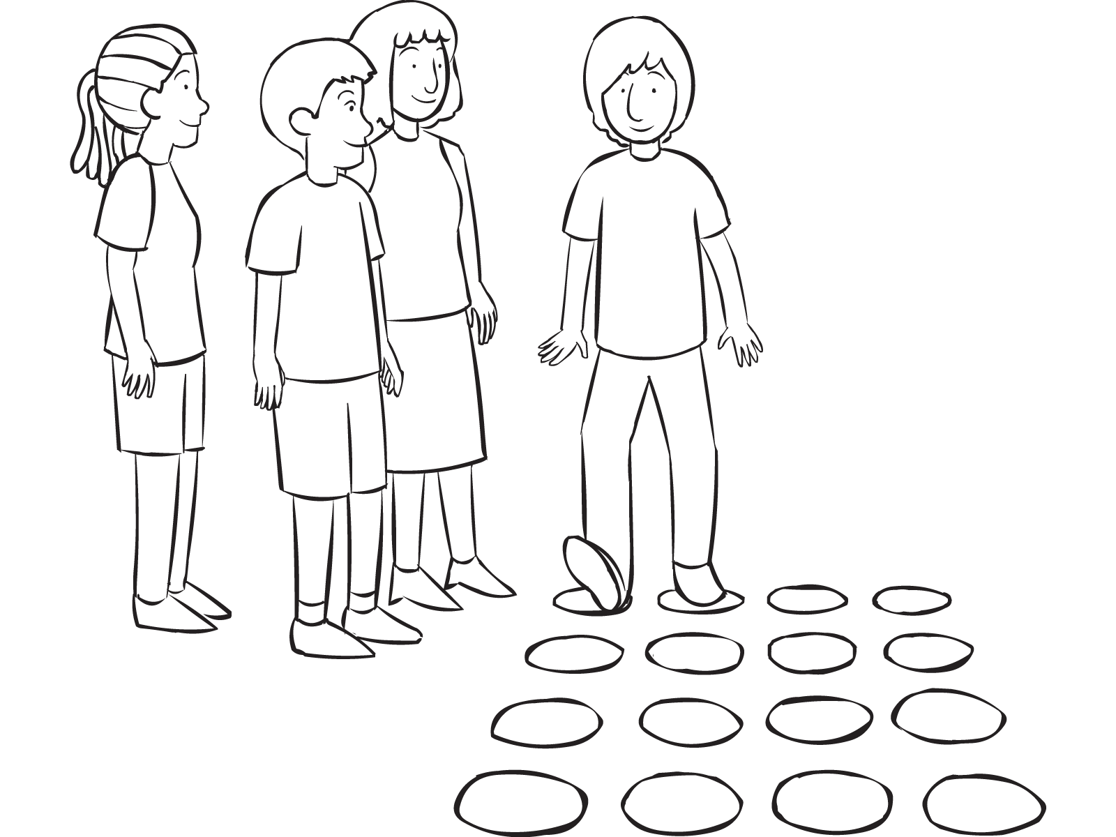The maze, with small group walking through a series of