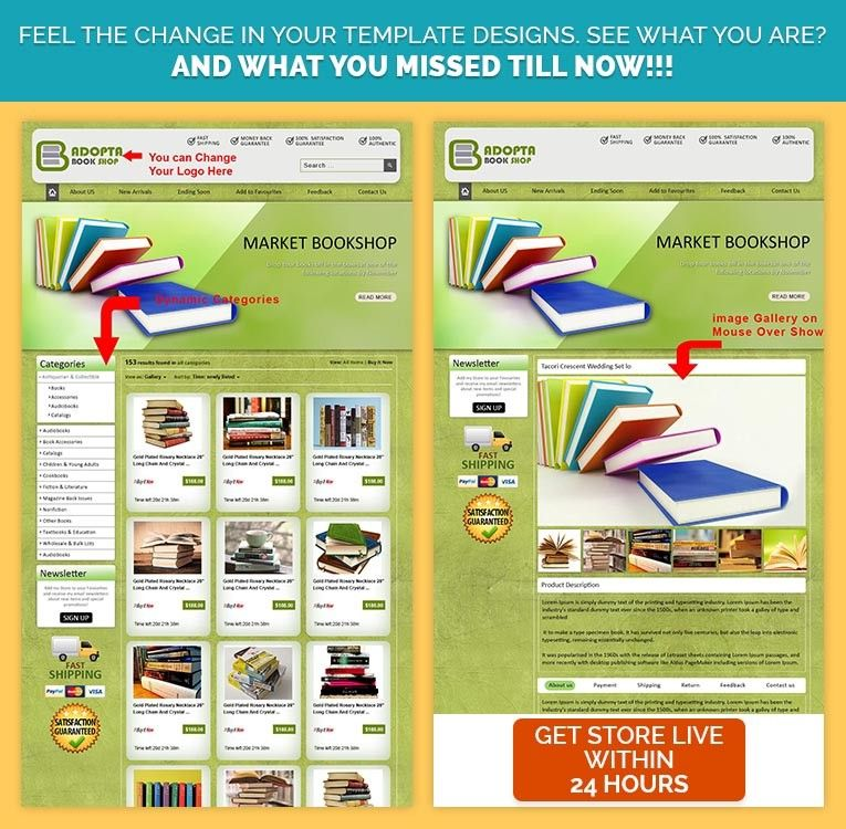 Fresh Green Theme html Template for eBay ideal for eBay Book Store
