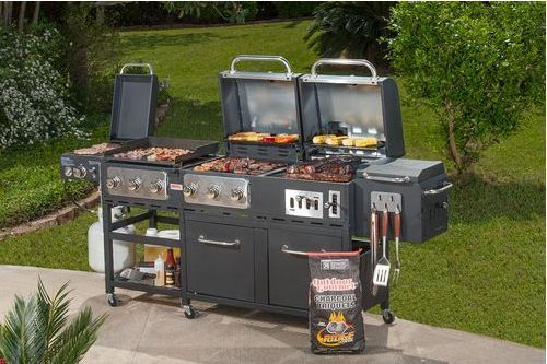 Outdoor Summer Patio 7 Burner Propane Charcoal Grill Griddle And Smoker Combo Charcoal Grill Grilling Best Charcoal Grill