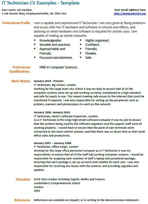 IT Technician cv example LearnistOrg, Pinterest Cv examples - pc technician resume