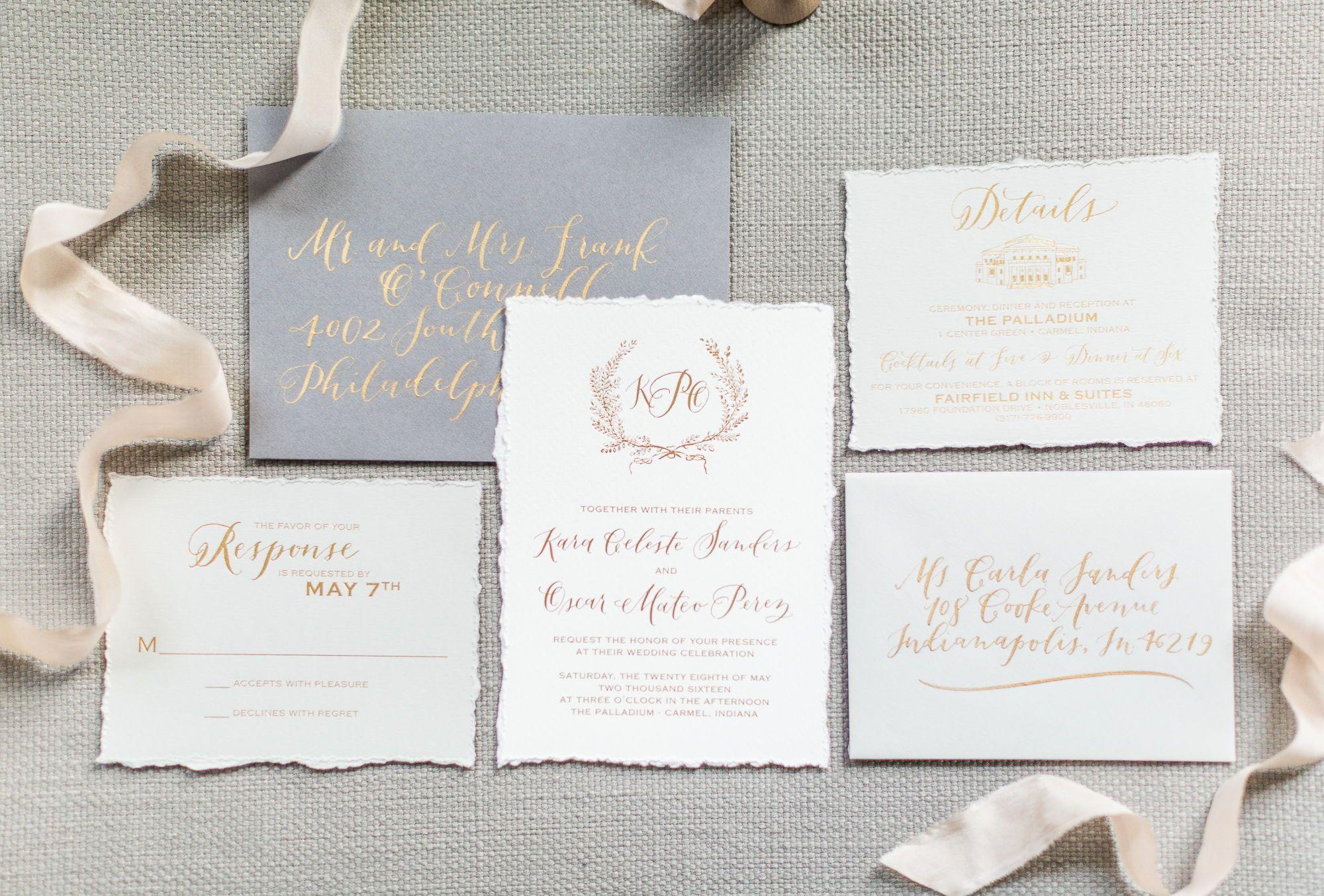 Deckle Edge Hand Made Paper Hand Torn Foil Stamping Calligraphy Custom Wedding Invit Wedding Inspiration Shoot Fine Art Wedding Script Wedding Invitations