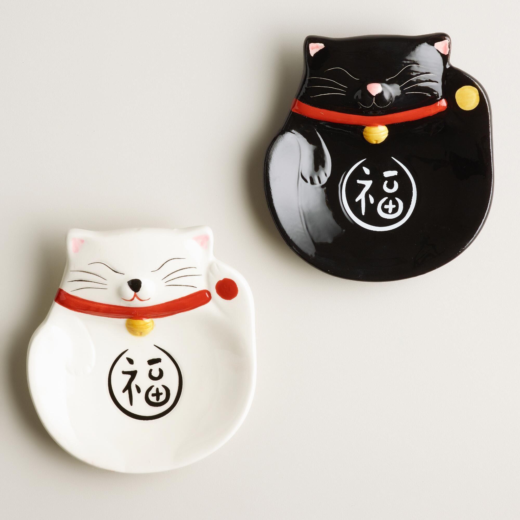 Happy Cat Ceramic Tea Rests, Set of 2 Cat teapot, Happy